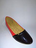 Балетки женские, туфли черно-красные в классическом стиле лаковые 40