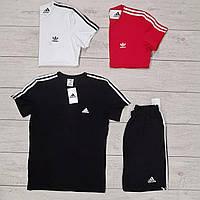 Комплект мужской Футболка + Шорты Adidas Round x black   Спортивный костюм мужской летний Адидас ЛЮКС качества