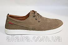 Мужские летние туфли-мокасины замшевые, бежевые, с перфорацией. Чоловічі літні туфлі-мокасини замшеві, бежеві