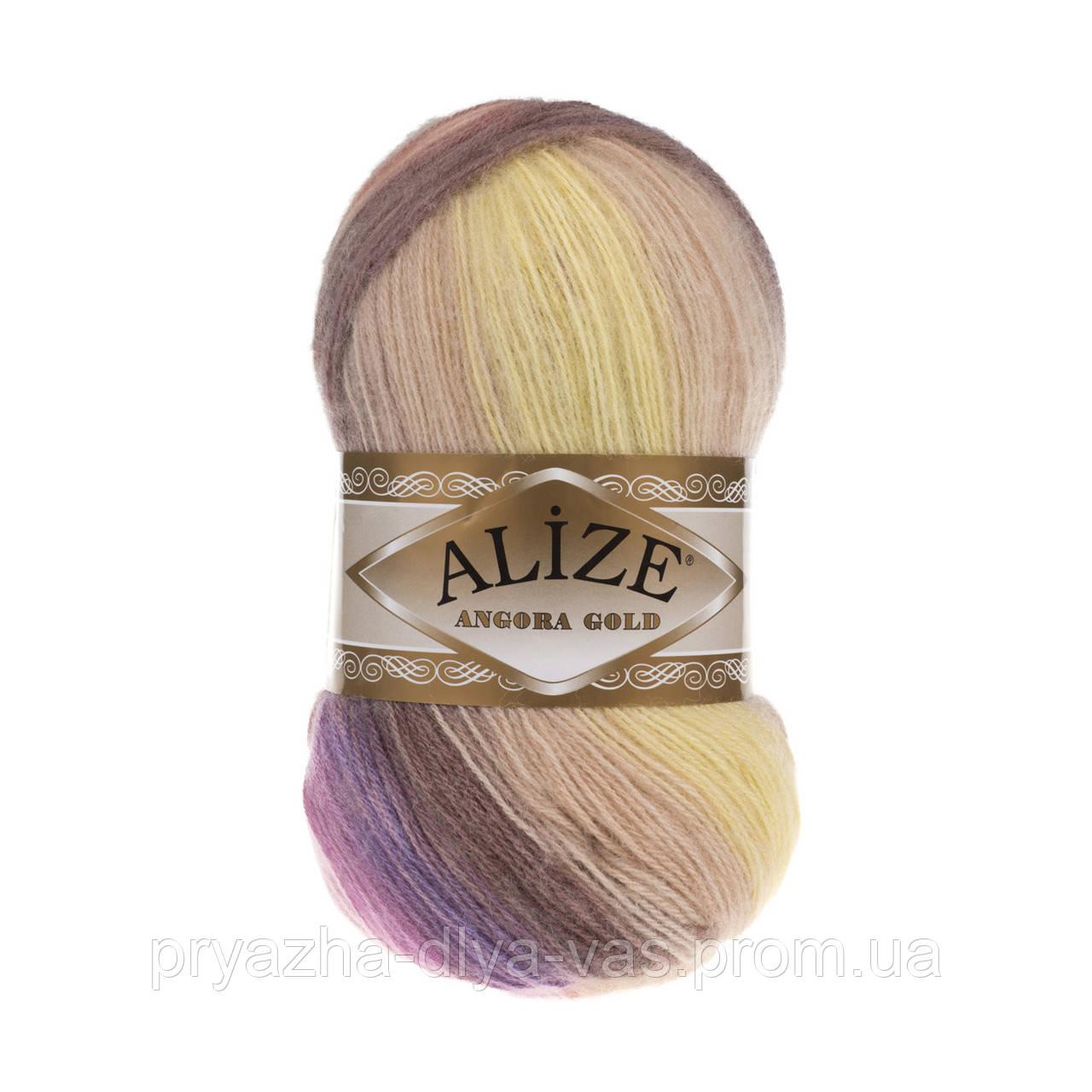 Зимняя пряжа (20%шерсть,80%акрил; 100г/550м) Alize Angora Gold Batik 6954