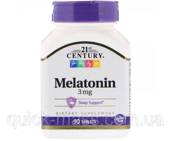 Мелатонин от бессонницы для улучшения сна, Melatonin, 21st Century Health Care, 3 мг, 90 таблеток
