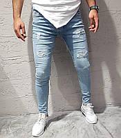 Крутые мужские рваные и зауженные джинсы Public светло-синие - 32,33,34,36