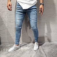 Крутые мужские зауженные джинсы Public светло-синие весна-осень - размер 38