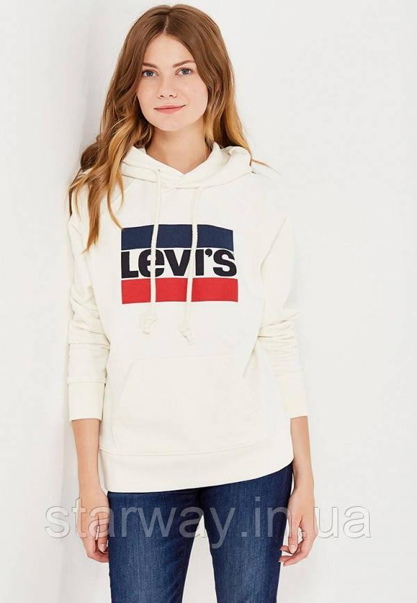 Худи в стиле Levis логотип принт | толстовка белая