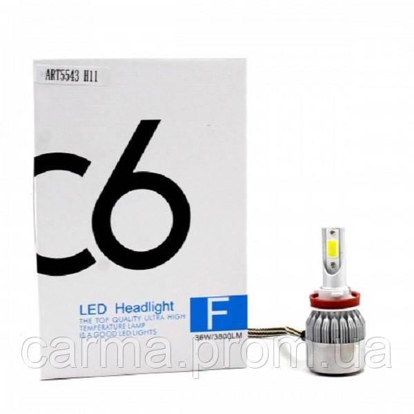 Автомобильные лампы светодиодные С6 LED H11 Белые