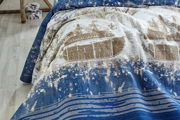Покрывало вафельное 160х235 EPONJ HOME Pusula синее