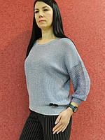 Ажурная вязаная женская блуза сине-голубая, свободного кроя, весенне-летняя, нарядная, офисная, повседневная