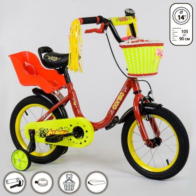 Велосипед детский двухколесный 14 красный Corso 1493