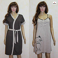 Женский комплект для кормления ночная сорочка и халат летний коричневый 44-54р., фото 1