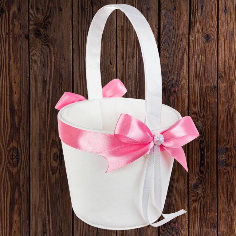 Свадебная корзинка для лепестков, розовый бант (арт. 0797-15)
