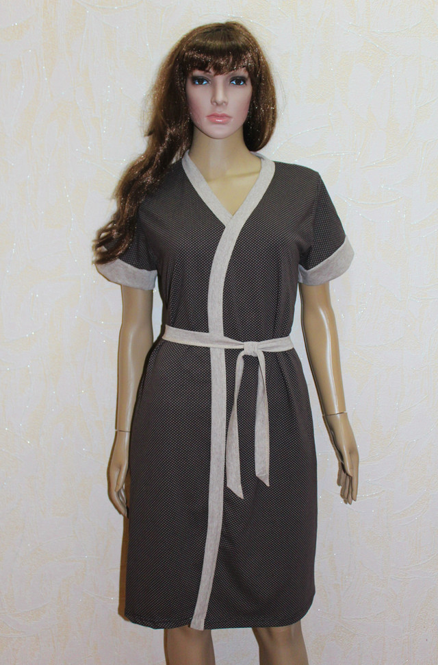 Женский комплект для кормления ночная сорочка и халат летний коричневый