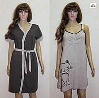 Комплект для кормления ночная сорочка и халат летний коричневый 44-54р., фото 1