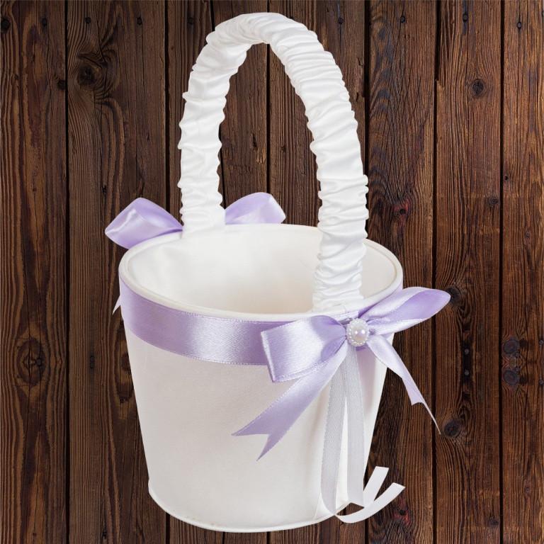 Свадебная корзинка для лепестков, лиловый бант (арт. 0797-19)
