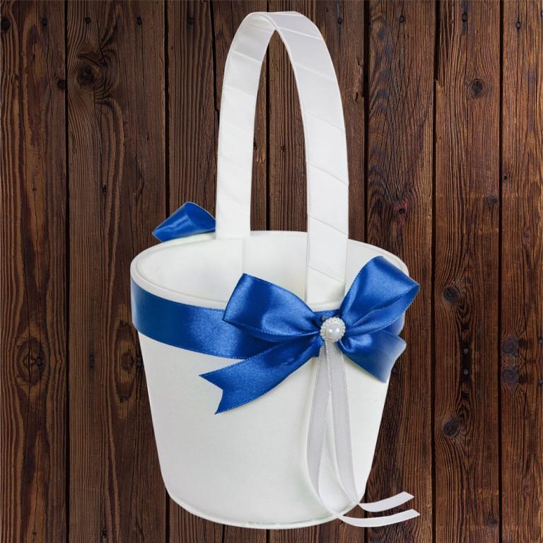 Свадебная корзинка для лепестков, синий бант (арт. 0797-21)