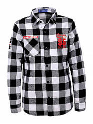 Рубашка для мальчика в клетку черная  BCS-1313 9-15лет