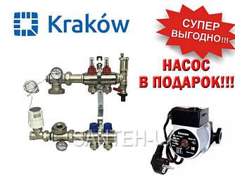 Коллектор для тёплого пола Krakow на 2 выхода (Польша)