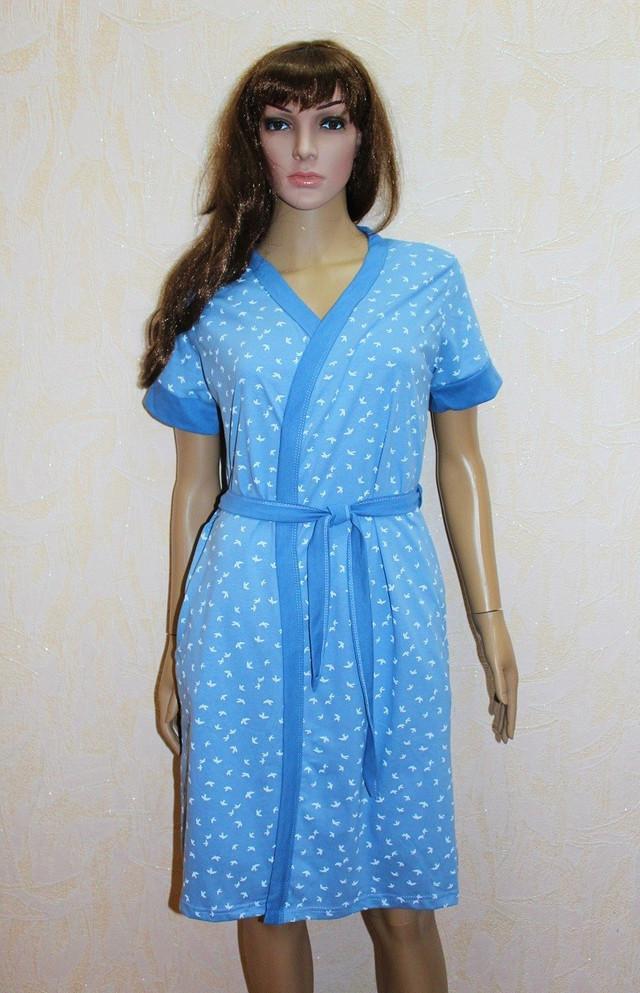 Жіночий комплект трикотаж стрейч халат, нічна сорочка річний джинс