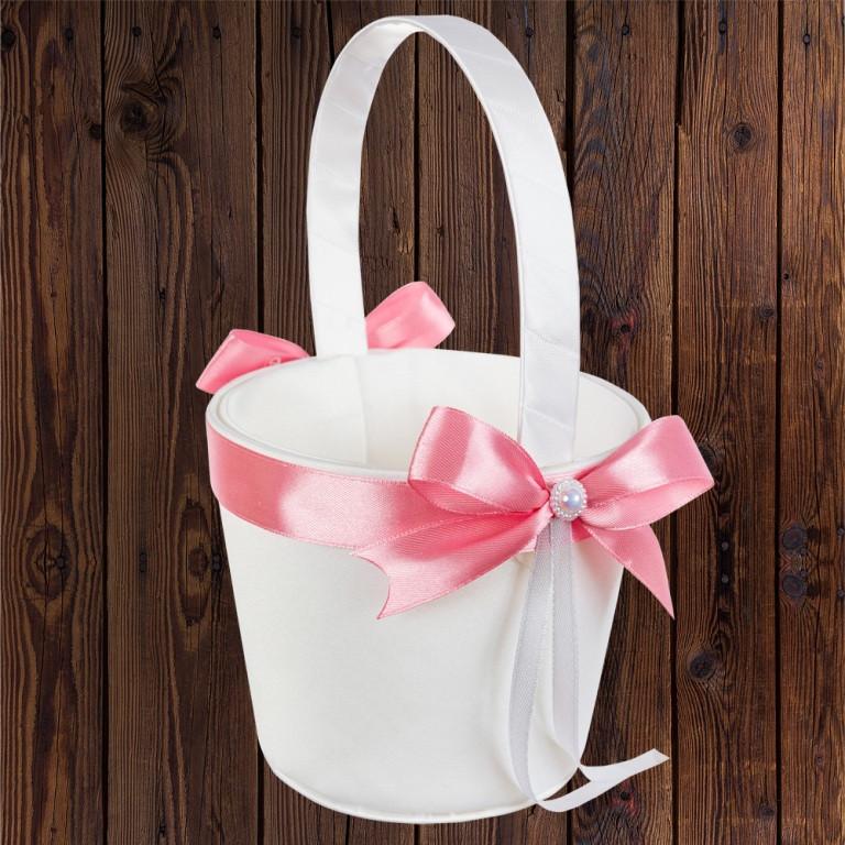 Свадебная корзинка для лепестков, пудровый бант (арт. 0797-25)