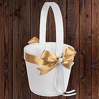 Свадебная корзинка для лепестков, золотистый бант (арт. 0797-27)