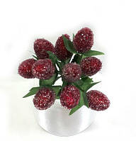 """Искусственные  ягоды малины""""стеклянные"""" для декора бордовые(1 набор - 10шт), фото 1"""