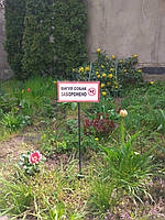 """Табличка на ножке """"Вигул собак заборонено"""" 120*240мм, односторонняя, фото 1"""