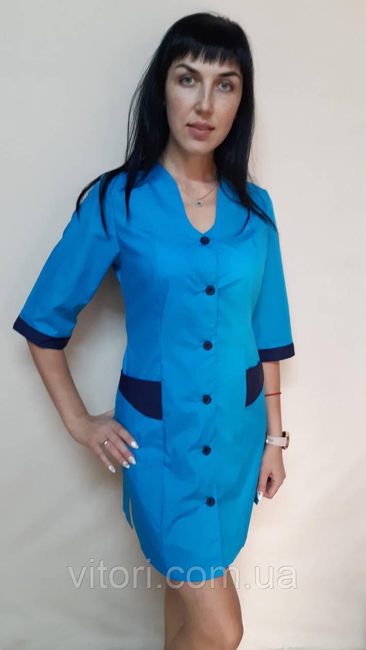 Жіночий медичний халат Хвиля три чверті рукав бавовна