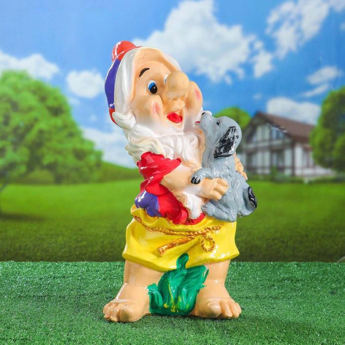 Садовый гном-девочка с собачкой 56 см гипс - садовый декор