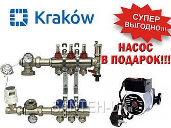 Коллектор для тёплого пола Krakow на 3 выхода (Польша)
