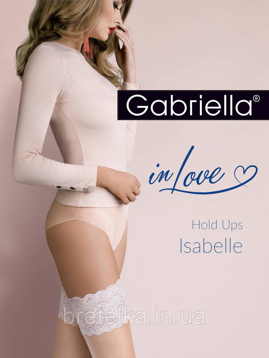 Женские чулки на силиконе телесные с молочным кружевом 20 den Gabriella Isabelle