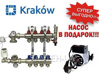 Коллектор для тёплого пола Krakow на 4 выхода (Польша)