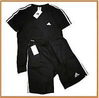 Мужской летний комплект футболка и шорты Adidas Black White (адидас, черный / белый)