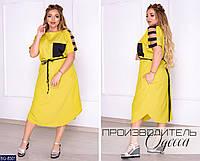Оригинальное летнее свободное платье за колено больших размеров 50-60 арт 2205