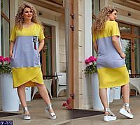 Удобное повседневное легкое платье на лето больших размеров 50-60 арт 1104