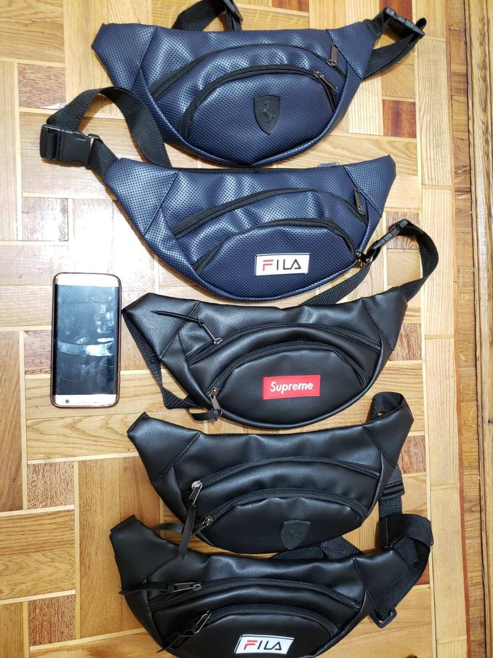 Сумка на пояс, бананка, поясная сумка из эко-кожа поясная сумочка FILA,supreme Размеры: 34x12x6cm