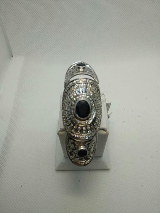 Кольцо на фалангу пальца с сапфирами и фианитами