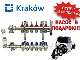 Коллектор для тёплого пола Krakow на 6 выходов (Польша)