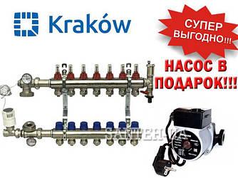 Коллектор для тёплого пола Krakow на 7 выходов (Польша)