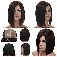 Парик каре без челки из натуральных волос на сетке - система Edith HH баклажанный цвет