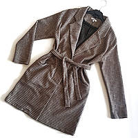Пальто-кардиган коричневого цвета в полоску
