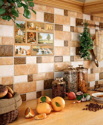 Декор InterСerama Grani коричневий  23x35 Д 74031, фото 2