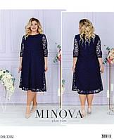 Нарядное свободное платье за колено с флоковым узором размеры батал 54-64 арт 511