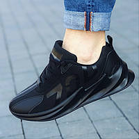Кроссовки мужские черные удобные модные  (код 7131) - кросівки чоловічі чорні зручні модні