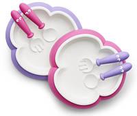 BabyBjorn Тарелочки со столовыми приборами, розовый/фиолетовый