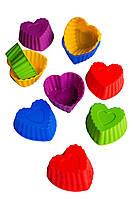 """Силіконова форма порційна для випікання і десертів """"Серце"""" упаковка 10 штук"""