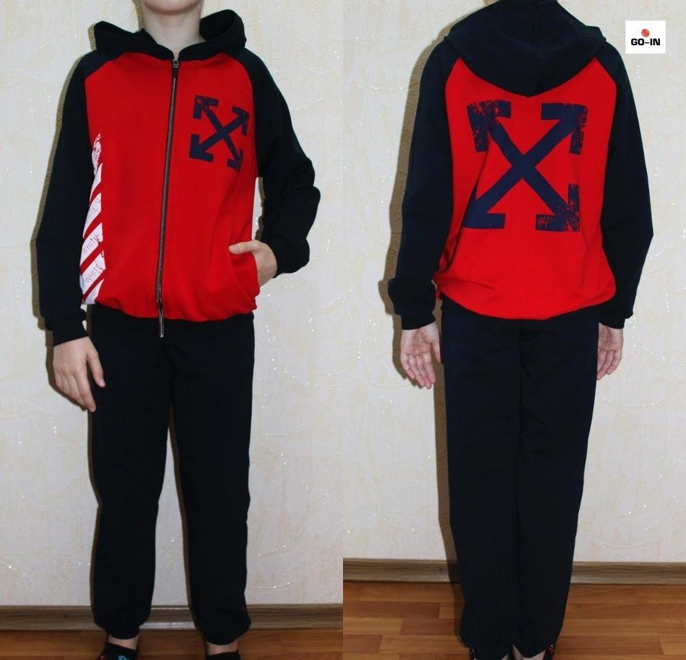 Спортивный костюм подростковый для мальчика красный 32-40р.