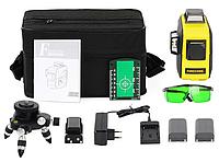 Лазерный уровень Firecore F93T XG с двумя аккумуляторами супермаксимальная комплектация с зелёными лучами 3D