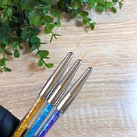 Кисти тонкие для дизайна ногтей,набор 3шт