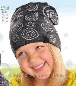 Демисезонная хлопковая шапка для девочки серая с узором в кружочки (AJS,Польша)