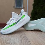 Жіночі кросівки Adidas Yeezy Boost 350 V2 (біло-зелені) 20079, фото 5