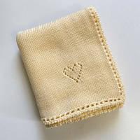Плед Вязаный сердечки для новорожденных Bymoms кремовый 80х 90 см